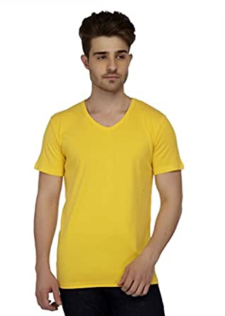 RIVER INC Men's Cotton Blend Basic V-Neck T-Shirt (Yellow, 101115770, XXL - 46)