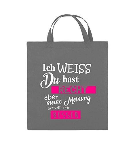 Comedy Bags - Ich weiss du hast Recht aber meine Meinung gefällt mir besser - Jutebeutel - kurze Henkel - 38x42cm - Farbe: Schwarz / Weiss-Rot Dunkelgrau / Weiss-Pink