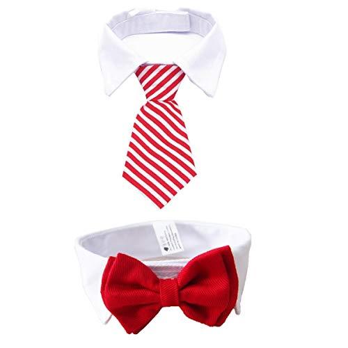 MOREFUN - Corbata Ajustable de 2 Piezas para Perros pequeños, Cachorros, Gatos y Mascotas (Corbata de Pajarita + Corbata de Rayas para el Cuello), Girls/Red, Small