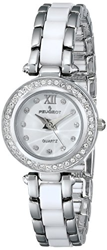 Peugeot Women's 7073WT Acrylic Link Crystal Accented Silver-tone White Watch