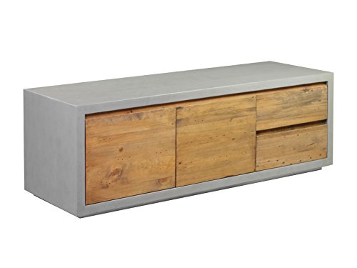 Woodkings® TV Bank Burnham, Lowboard aus recyceltem Pinien Holz rustikal, Korpus Beton - Optik, TV-Regal, TV Unterschrank, TV Board, Fernsehbank, Fernsehtisch, Loft & Wohnzimmer Möbel - Rustikale Holz-tv
