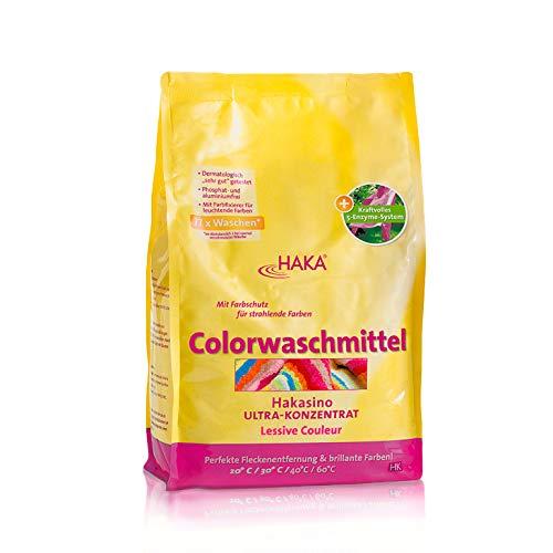 HAKA Colorwaschmittel I 3kg Pulver I 77 Wäschen pro Beutel I Waschmittel hautfreundlich und ohne Aluminium I Mit Farbschutz für Buntwäsche
