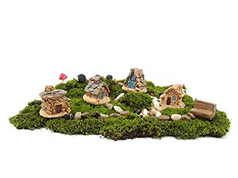 Ginsco 11pcs Fairy Garden Ancient World Diy Kit with Stone House Hedgehog Mushroom Ginsco 8pcs Miniature Fairy Garden Dollhouse Villa Style DIY kit Christmas