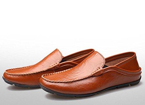GRRONG Herren Lederschuhe Echtes Leder-beiläufige Schwarz Braun Weiß Brown