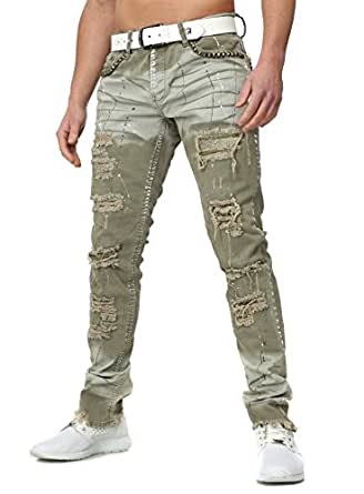 kingz men destroyed jeans sarges extremer vintage look with rivets offene beinenden farbkleckse. Black Bedroom Furniture Sets. Home Design Ideas