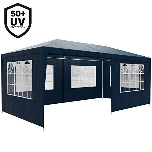 Deuba Festzelt Rimini 3x6m UV-Schutz 50+ 18m² 6 Seitenteile wasserabweisend Pavillon Partyzelt Gartenzelt Festival Blau