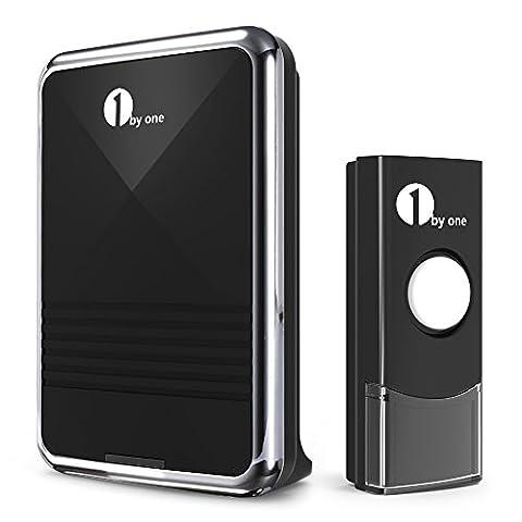 1byone Funkklingel Set,Easy Chime T¨¹rklingel,Wireless Doorbell, 1 Batteriebetriebene Empf?ngern & 1 Sender (Klingeltaste) 36 Klingelt?ne,100m Reichweite, Schwarze