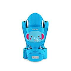 Idea Regalo - SONARIN 3 in 1 Multifunzione cartone animato Hipseat Baby Carrier,Portantina per bebè,Ergonomico,100% cotone,un formato adatto a tutti,Adattato al crescente del tuo bambino,Ideale Regalo(Blu)