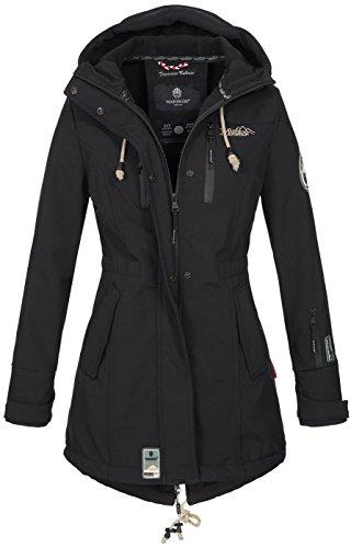 Marikoo Damen Winter Jacke Winterjacke Mantel Outdoor wasserabweisend Softshell B614 [B614-Zimt-Schwarz-Gr.M]