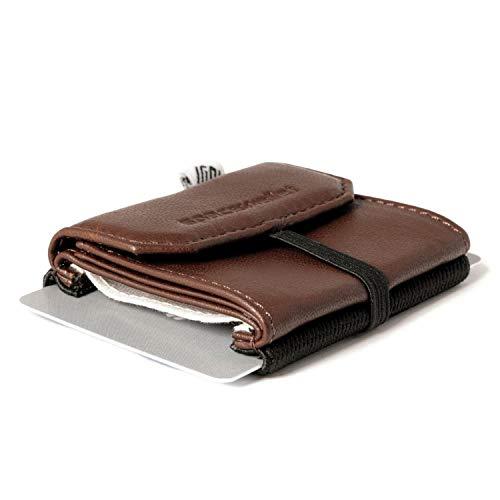 Piccolo portafoglio pratica, sottile, leggero, compatto, 5,5cm x 7cm, Vera Pelle-Space Wallet 2.0Pull con tasca a moneta NOTEBOOK-Tessuto elastico-Piccolo portamonete, Black Chocolate 2.0 Pull (Marrone) - 160