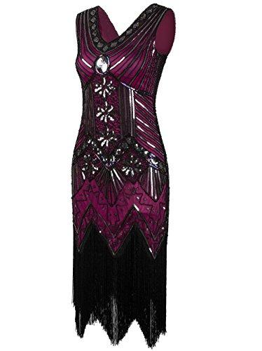 Vikoros Damen Cocktail Kleid, Paisley, Cocktail, (Fancy Plus 80s Size Dress)