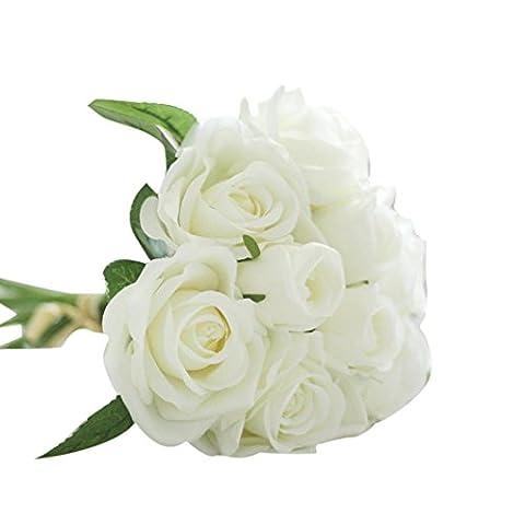Zolimx 9 Köpfe Künstliche Seide Fake Blumen, Blatt Rosen Hochzeits Blumendekor Blumenstrauß (Weiß)