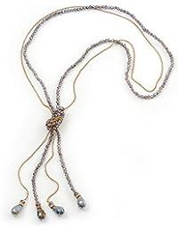 Long Light Purple Faceted Glass Bead & Gold Beaded Chain Tassel Necklace - 76cm Length/ 12cm Tassel