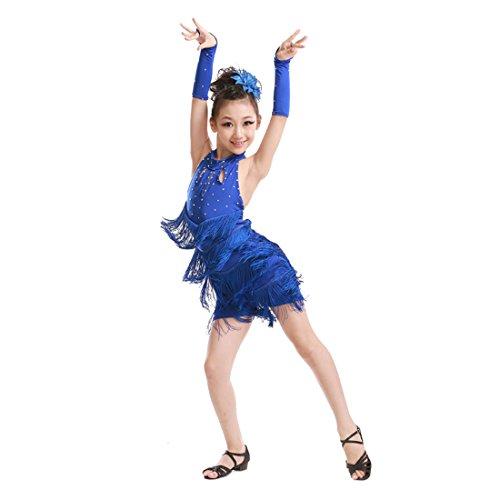 Fuyingda Girl Funkelnde Strass Double Tassel Tanzen Latin Rumba Salsa Dress