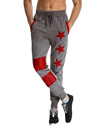 MODCHOK Uomo Pantaloni Lunghi Jogger Chino Jogging Cargo Tuta Sportiva Stella Slim Fit Grigio scuro