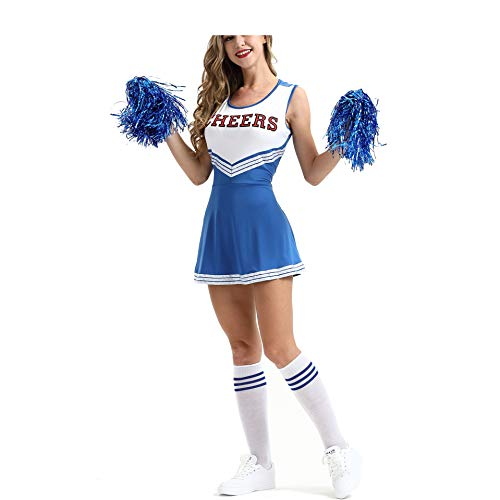 Kostüm College Für - MEYOO Cheerleader-Kostüm für Damen, für High School Musical Uniform Fancy Dress,Blue,XS