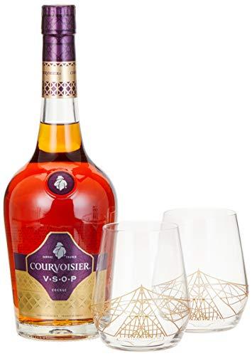 Courvoisier VSOP mit Geschenkverpackung mit 2 Tumbler Cognac (1 x 0.7 l)