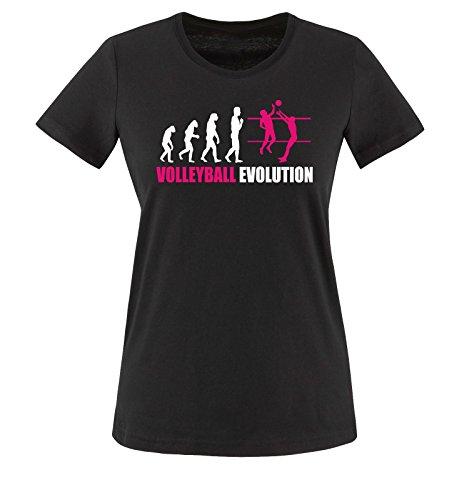 Comedy Shirts - Volleyball Evolution - Damen T-Shirt - Schwarz/Weiss-Pink Gr. XS