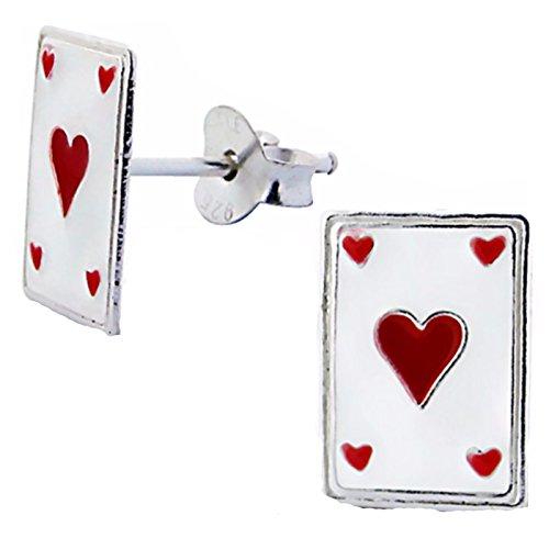 Silvadore - Kinder 925 Sterling Silber Ohrstecker - rote Herzen schwarzes Deck Spielkarten Spielen - Butterfly Verschlüsse - in Geschenkverpackung (Von Schwarz-deck Spielkarten)