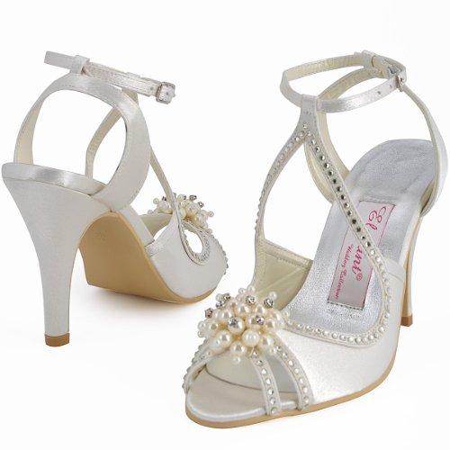 Elegantpark EP11058 Bout Ouvert Satin Perle Strass Aiguille Talon Pumps Femme Sandales Chaussures de Mariage Ivoire