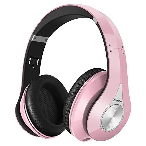 Mpow 059 Cuffie Bluetooth 4.1 Cuffie Riduzione di Rumore, Fascia Morbida Pieghevole Design Ergonomico, con Microfono, Durata 20 Ore per Huawei/iPhone/iPad/LG/Samsung/Sony e Altri Cellullari e PC-Rosa