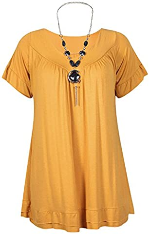 Womens Plus Size Frill Necklace Gypsy Ladies Tunic Short Sleeve Long V Neck Tops (20, Mustard)