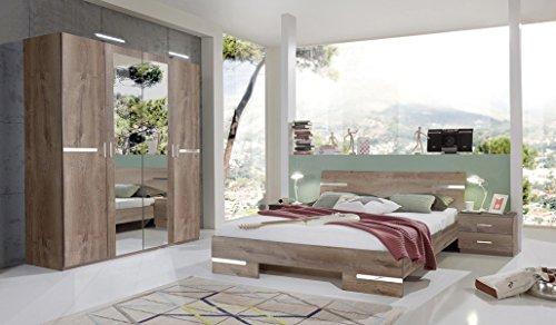 PEGANE Chambre Adulte en Panneaux de Particules Imitation chêne Chataigne - 140 X 200 cm