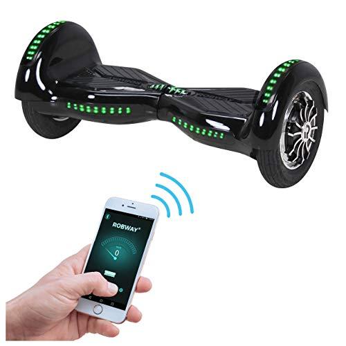 Robway W3 Hoverboard - Das Original - Samsung Marken Akku - Self Balance - 21 Farben - Bluetooth - 2 x 400 Watt Motoren - App - LED (Schwarz)