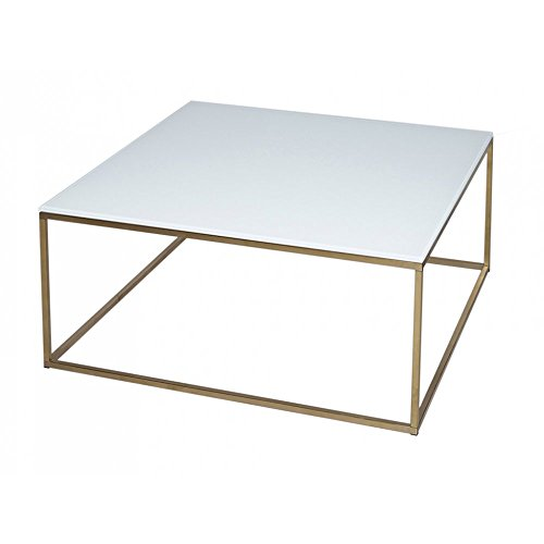 Gillmore Space Verre Blanc Table Basse carré d'Or métal Contemporain