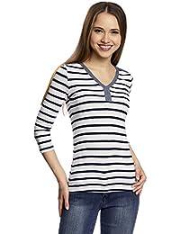 oodji Ultra Femme T-shirt Henley Rayé