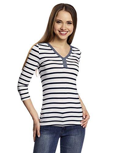 oodji Ultra Damen Henley-T-Shirt mit Streifen