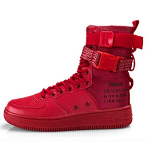 LJG Stivali Sneakers Casual Alti Stivali Hip Hop Scarpe Moto Stivali Moda Uomo Quattro Stagioni Scarpe Uomo gaobang Scarpe da Uomo in Bianco e Nero,Red,44