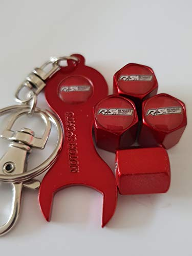 Sportimo R.s. Renault Sport rot Ventil Dust Caps mit Doppel doppelseitigen Logo Spanner Schlüsselanhänger passend für alle Modelle (2)