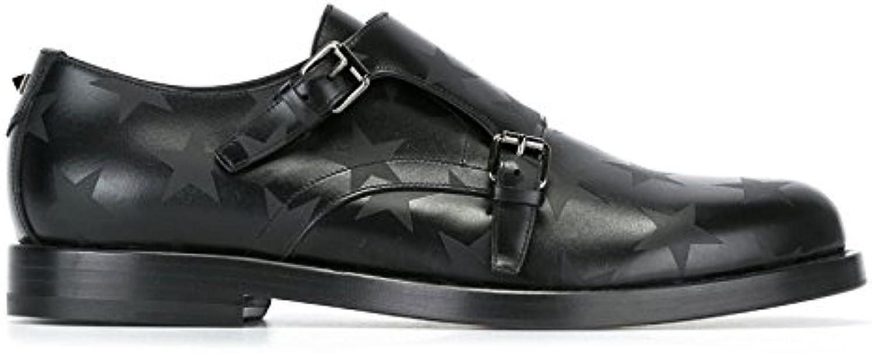 Valentino Garavani Hombre LY2S0936VUZ0NO Negro Cuero Zapatos Con Correa Monk -