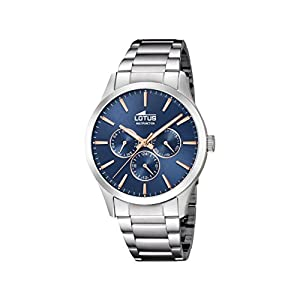 Lotus Watches Reloj Multiesfera para Hombre de Cuarzo con Correa en Acero