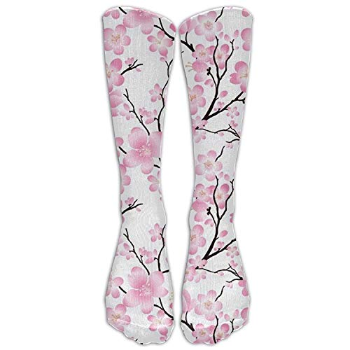 ruishandianqi Cherry Blossom Women Graduated Compression Knee High Socks Fun Cl Casual Dress Socks for Men&Women