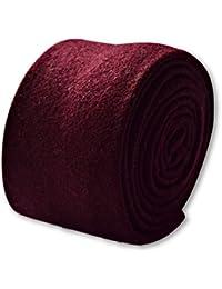 Frederick Thomas mens plain maroon 100% wool tie