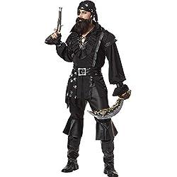 Traje de pirata negro para hombre, 40-42.