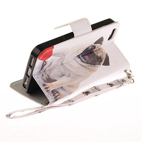 Custodia iphone SE / 5 / 5S Cover ,COZY HUT Flip Caso in Pelle Premium Portafoglio Custodia per iphone SE / 5 / 5S, Retro Animali di cartone animato Modello Design Con Cinturino da Polso Magnetico Sna carlino
