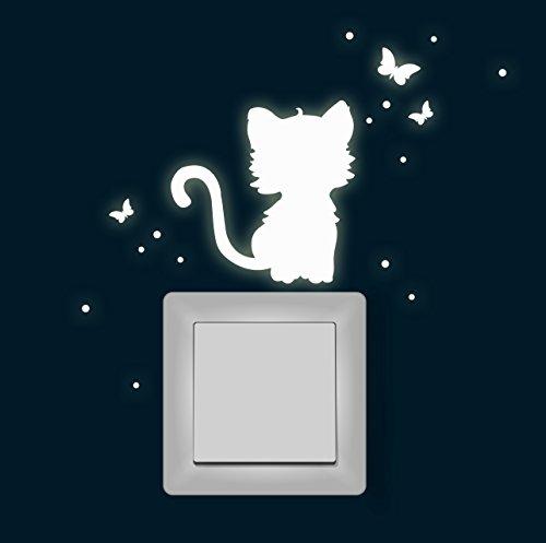 ilka parey wandtattoo-welt Leuchtsticker Lichtschaltertattoo Wandtattoo Katze Schmetterlinge Fluoreszierend Wandaufkleber Wandsticker Lichtschalteraufkleber Fluoreszierend nachtleuchtend M1365