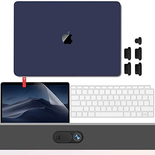 GMYLE Hülle für MacBook Air 13 Zoll A1932 2018 mit Touch-ID Schutzhülle Hartschale Cutout Logo Case, Tastaturschutz (EU), Displayschutzfolie, Webcam-Cover, Anti-Staub-Port-Stecker – Marineblau