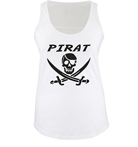 Comedy Shirts - PIRAT KOSTÜM - Damen Tank Top Shirt Weiss/Schwarz Gr. ()