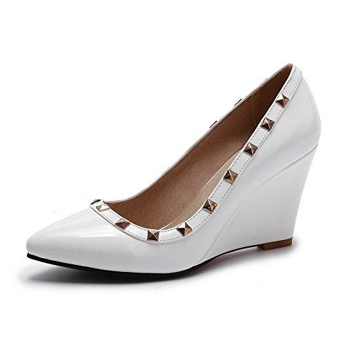 AllhqFashion Femme Verni Tire Pointu à Talon Haut Mosaïque Chaussures Légeres Blanc