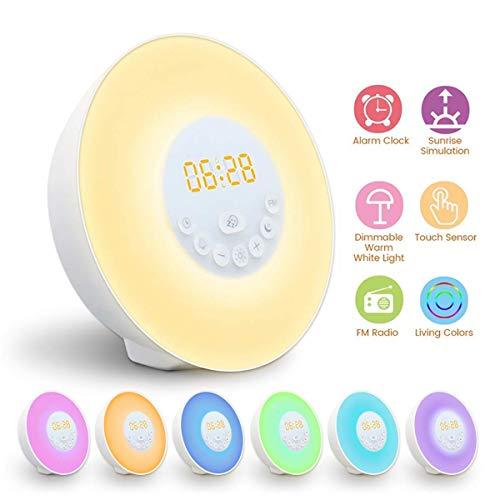 Réveil Lumière, GLIME Lampe Réveil Veilleuse Lumière RGB LED Câble USB Tactile Contrôle Multi-Mode Sunrise/Sunset/Snooze/Radio...