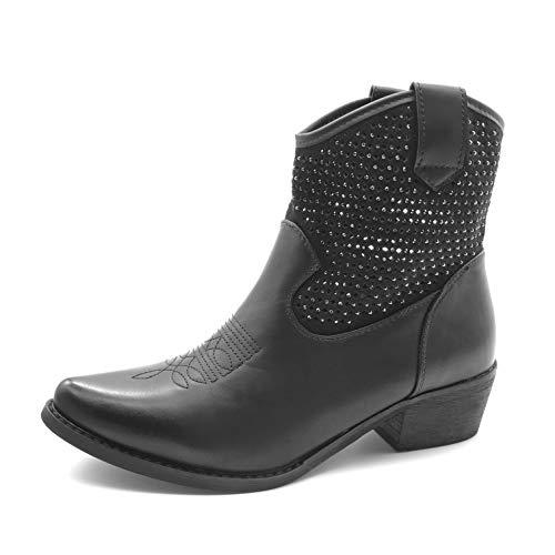 Angkorly - Damen Schuhe Stiefeletten - Santiags Cowboy - Biker - kleine Fersen - Strass - nähen - Perforiert Blockabsatz 4.5 cm - Schwarz JW31 T 37 -