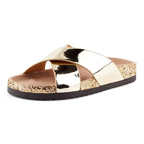 Fusskleidung Damen Pantoletten Metallic Schlappen Glitzer Komfort Sandaletten Sandalen Zehentrenner Gold EU 36