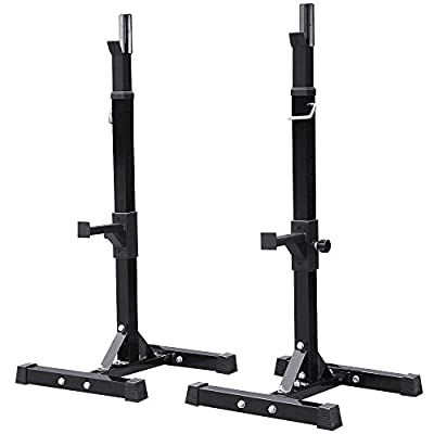 Popamazing Adjustable Heavy Duty Weights Bar Squat Rack Stand Power Weight Bench Squat Stands Rack Barbell Free Press Bench?Black by Popamazing