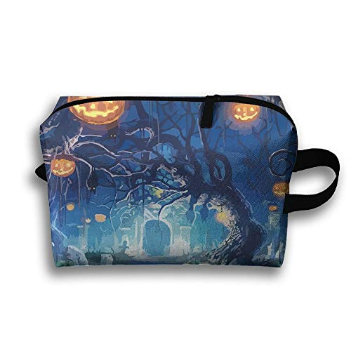 Unisex Tourist Bag Halloween ScaryMultifunction Travel Makeup Bag With Zipper Cosmetic Pouch Bags