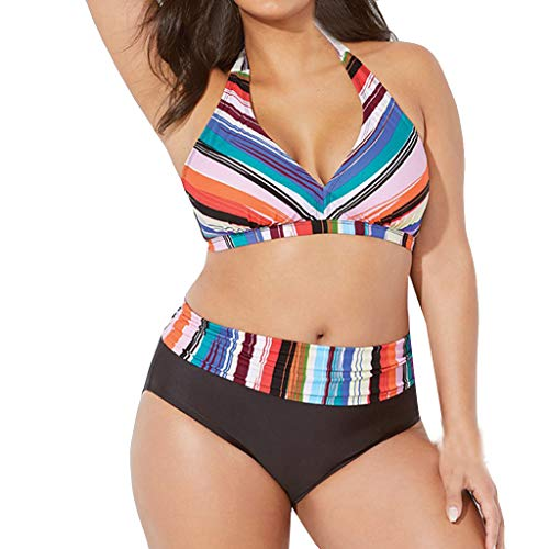 KPILP Frauen Badeanzug Bademode Übergröße One Piece Elegant Print Tankinis Push Up Gepolsterte Bikini Beachwear Sommer 2019 Pareos Strandkleider(Mehrfarbig,XXXL) -