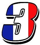 Startnummer Nummer Zahl Auto Moto Vinyl Aufkleber Sticker Motorrad Motocross Motorsport Racing Tuning Flagge Fahne Frankreich France (3), N44